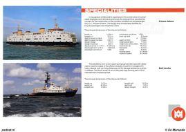 Een promotiefolder van scheepswerf De Merwede met daarin de Prinses Juliana. De werf heeft de veerboot als 'werkverschaffing' gebouwd: er werd geen winst gemaakt, maar het was gunstig voor de werf om het personeel in dienst te houden.