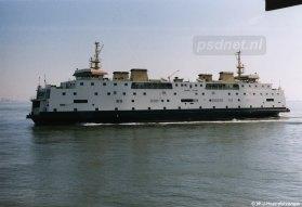De Juliana tijdens een invalbeurt op Vlissingen-Breskens. Naast veerboot Kruiningen-Perkpolder vanaf 1997 was de Juliana ook de reserveboot voor Vlissingen-Breskens, omdat de Prinses Christina (1968) alleen de reserveboot was voor het oostelijke veer.
