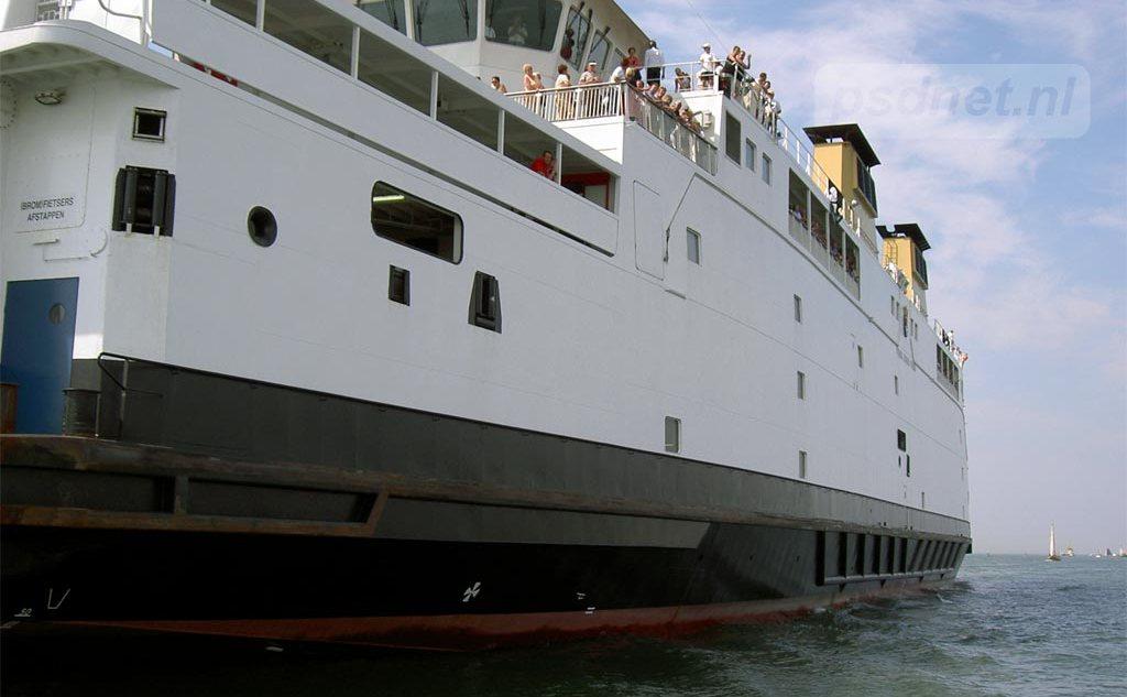 De PSD-veerboot Prins Johan Friso (bouwjaar 1997) van de autoveerdienst Vlissingen-Breskens in Zeeland