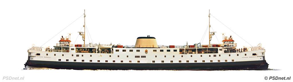 Zijaanzicht PSD-veerboot Prinses Margriet (1964)