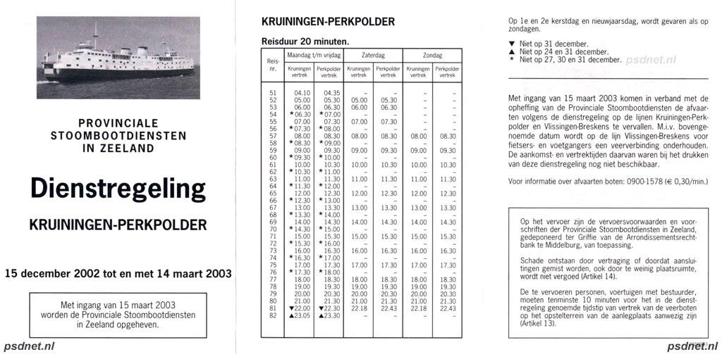 PSD-dienstregeling 2003