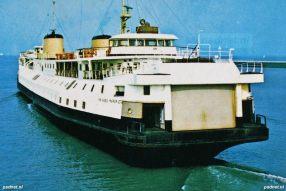 Een ansichtkaart met daarop de PSD-veerboot Prinses Margriet in de veerhaven van Breskens. Voor het zusterschip Prinses Beatrix werd in 1958 deze haven aangelegd.