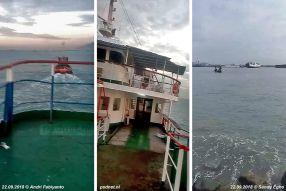 De laatste reis van de Margriet van de rede van Merak naar de sloopwerf in Bojonegara.