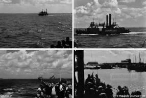 Aangezien de eigen kopladingsschepen waren gezonken of verdwenen kreeg de PSD van het Rijk Moerdijkponten te leen. Hier zien we de Dordrecht een paar weken na de indienststelling bij de PSD.