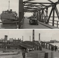 Boven: de Emma aan de ponton in Vlissingen. Onder: de Emma aan de ponton van Breskens.