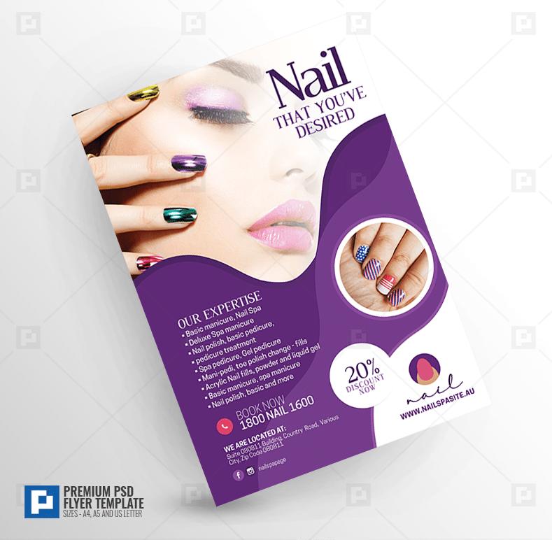 nail salon creative flyer psdpixel