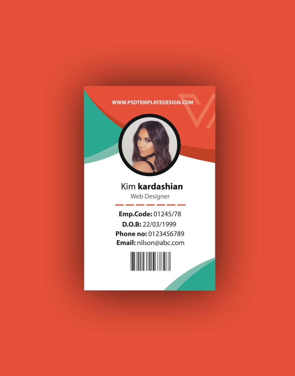 medium resolution of id card psd template