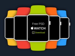 Free Flat Apple iWatch PSD Download