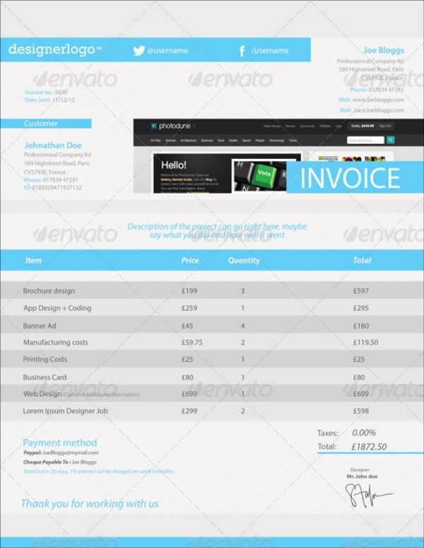 Clean Customizable Invoice Template