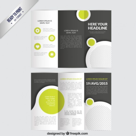 Tri-Fold Vector Brochure Template with Circles