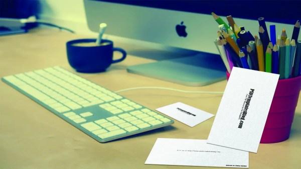 Business Card on Work Desk Mockup