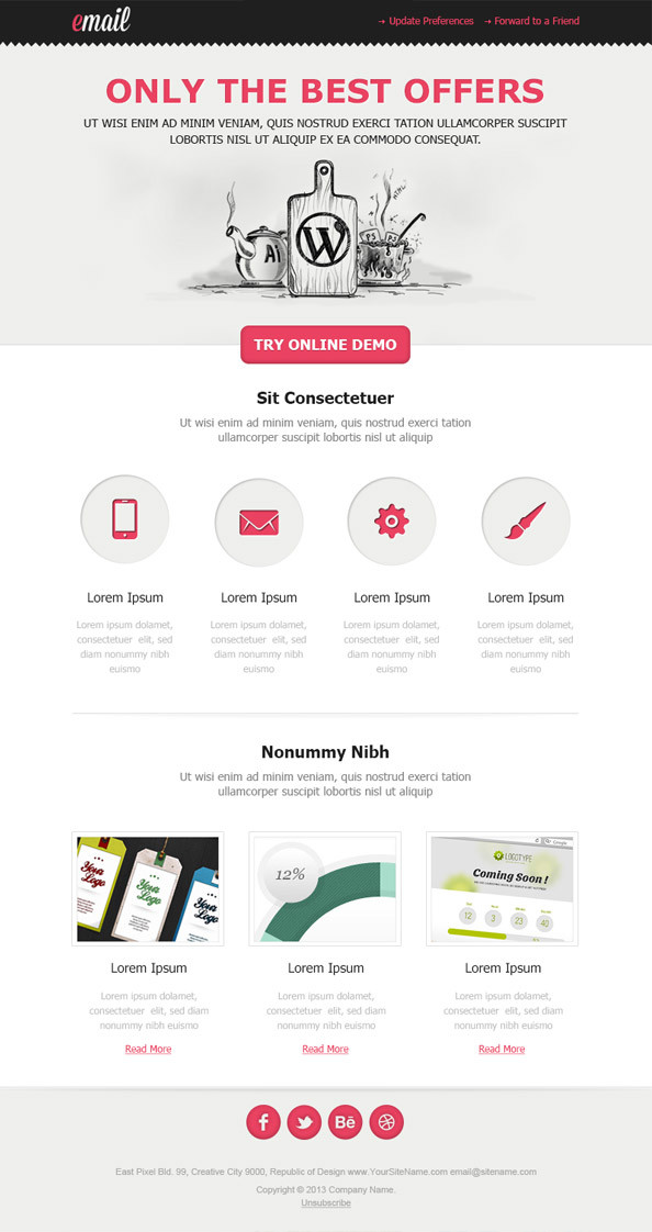 Clean HTML Email Newsletter Template