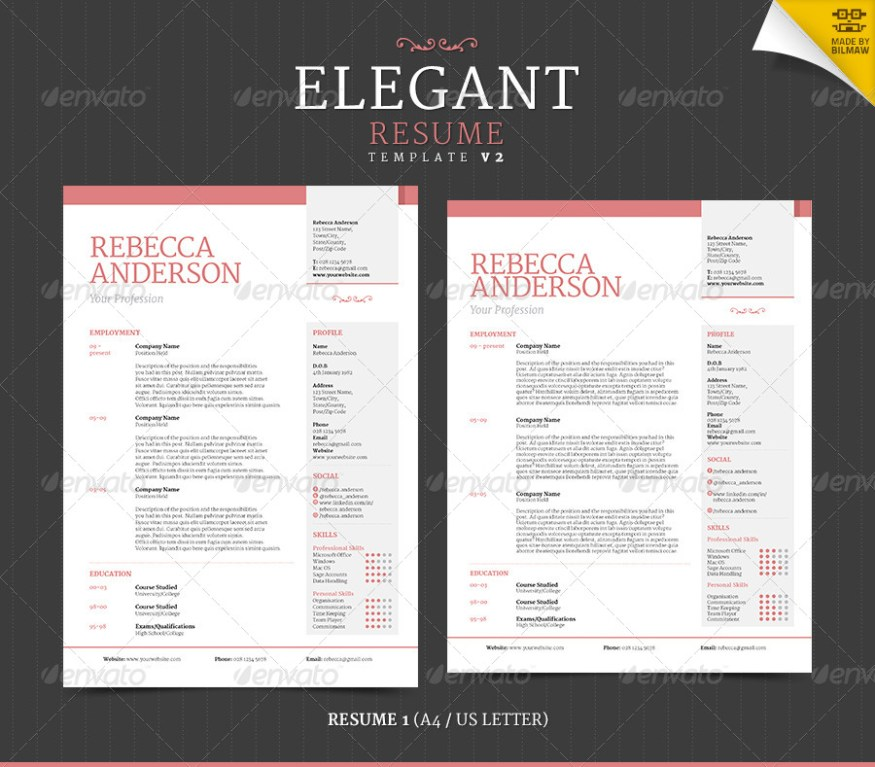 42 impeccable resume templates word psd indd ai download psdtemplatesblog for Elegant resume templates