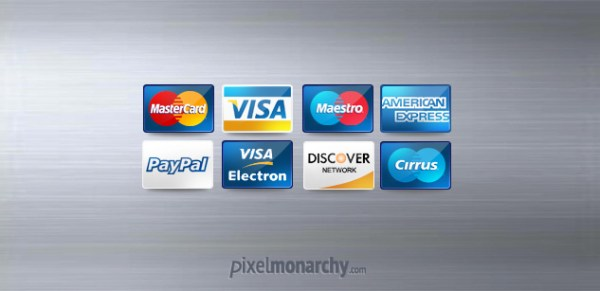 Fee Credit Debit Cards Icons PSD