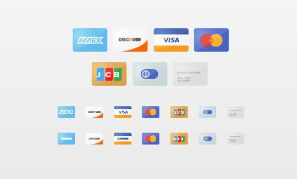 Free Flat Credit Card Icons Set PSD