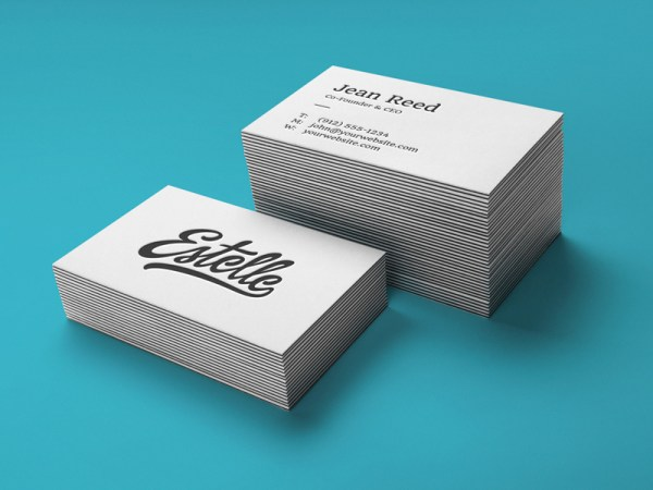 Letterpress Business Cards Mockup PSD