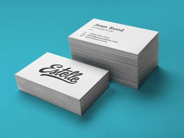 Letterpress Business Cards Mockup PSD