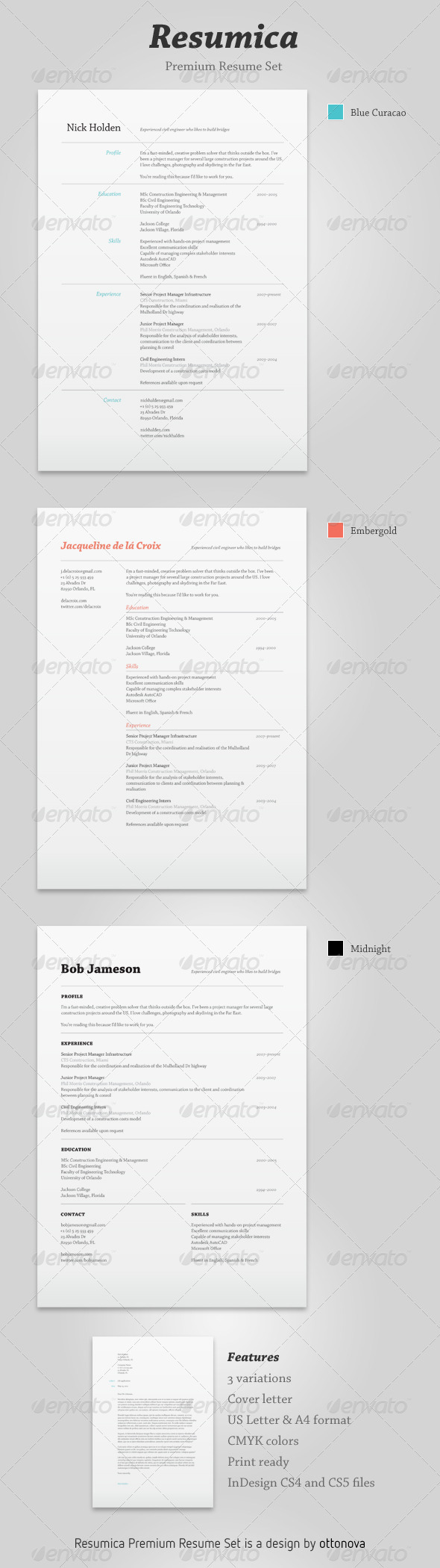 Resumica Resume Set  Resume In Indesign