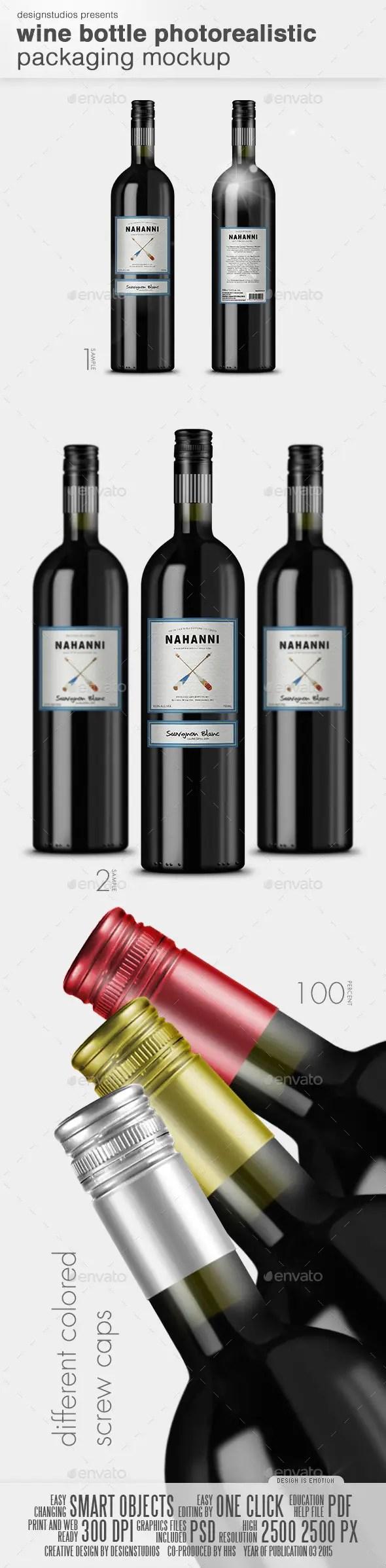 Wine Bottle Photorealistic Packaging Mockup