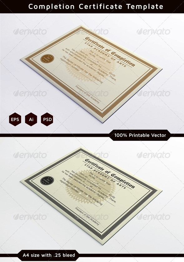 Completion Certificates Template
