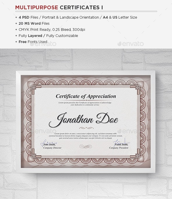 Multipurpose Certificates Templates