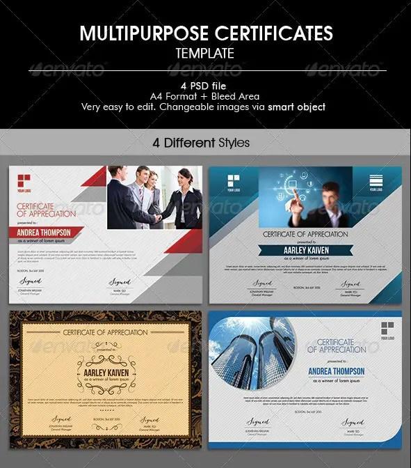 Multipurpose Certificates Templates