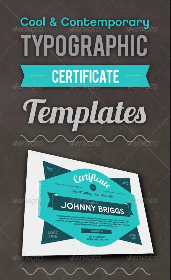 Typographic Certificate Templates 2
