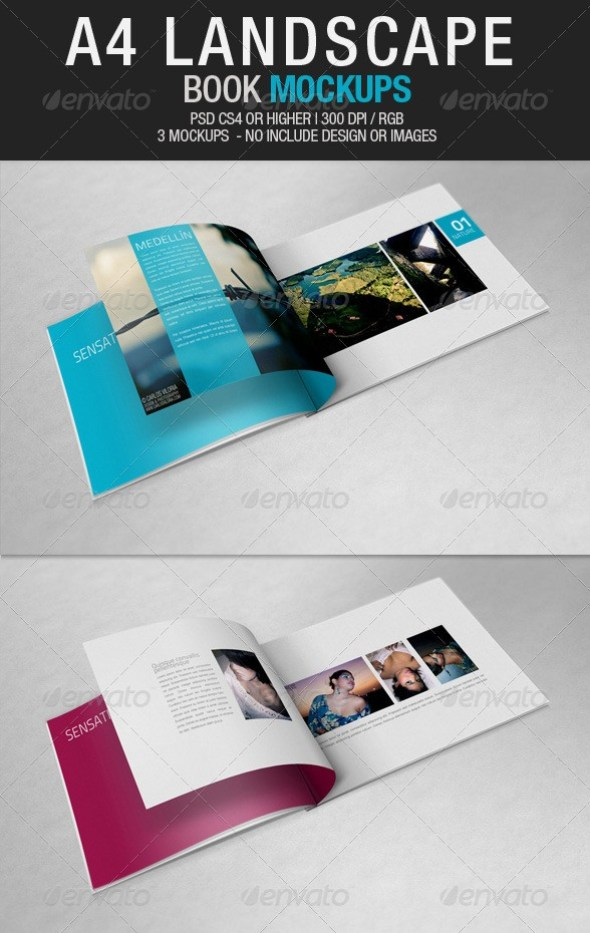 A4 Landscape Book Mockups