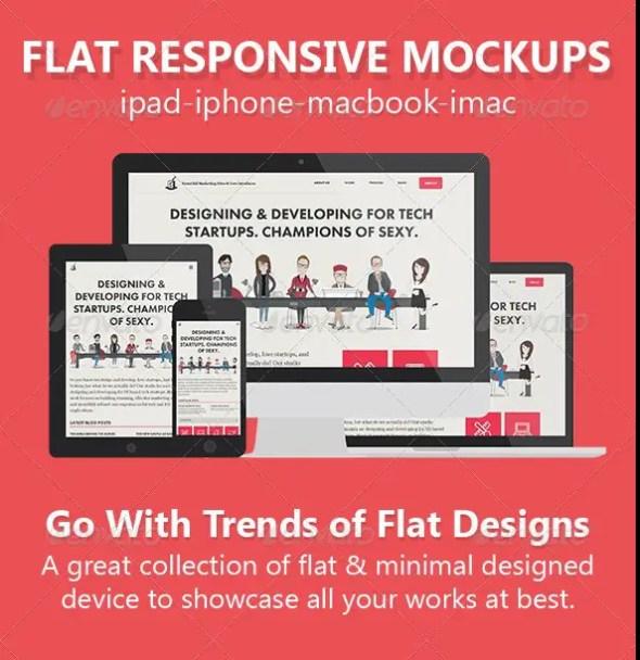 Flat Responsive Screen Mockups