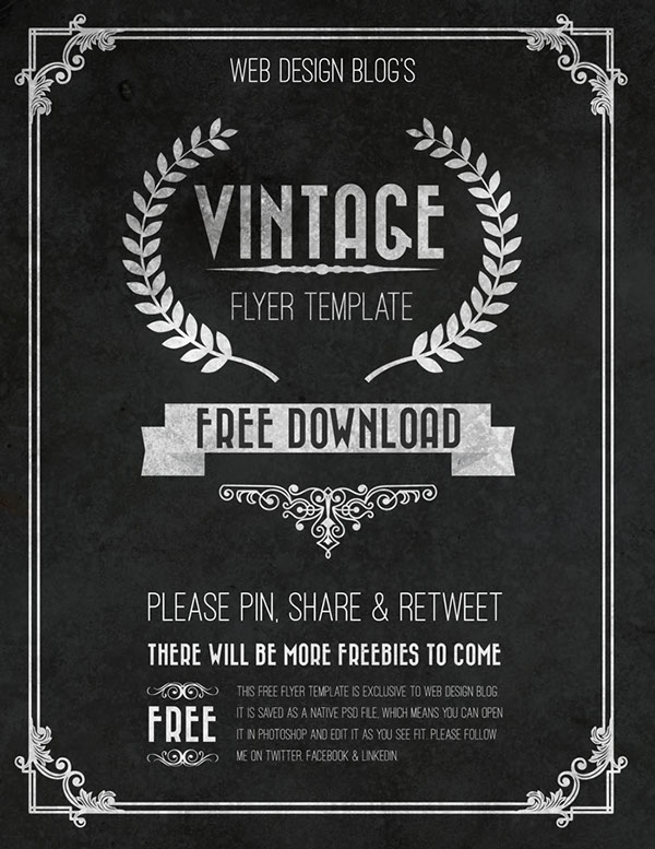 Free Vintage Flyer Template PSD