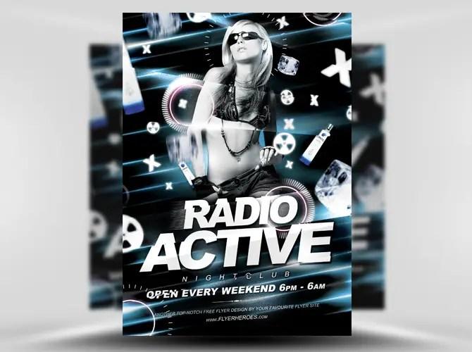 Radio Active Free Flyer Template