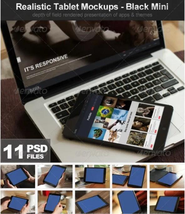 Realistic Tablet Mockups - Black Mini