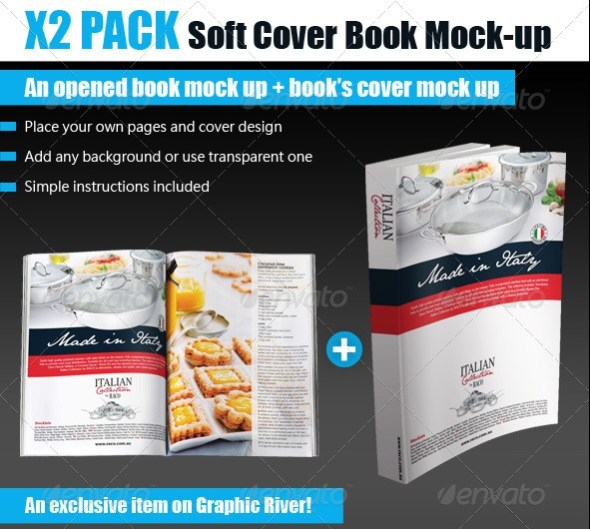 Softcover Opened Book Mockup