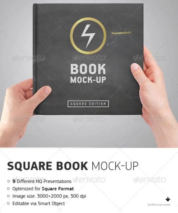 Square Book Mockup