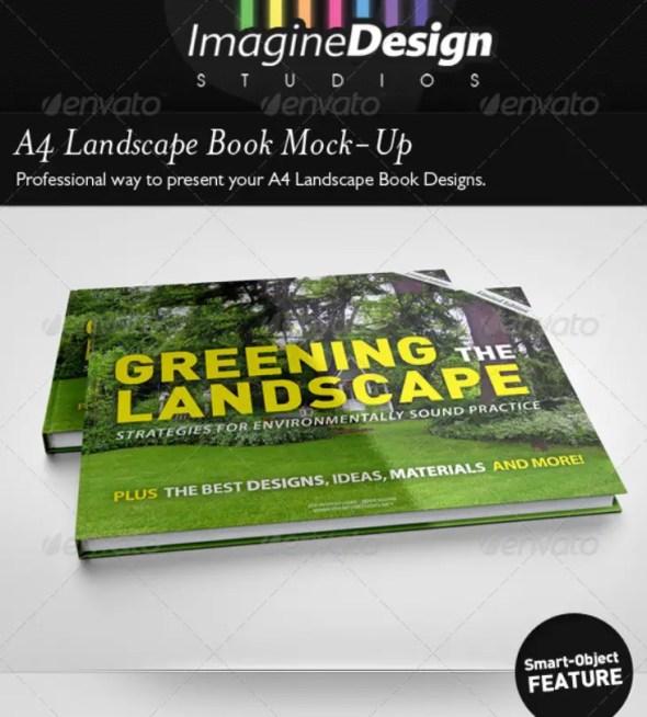 A4 Landscape Book Mockup