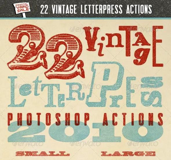 22 Vintage Letterpress Photoshop Actions