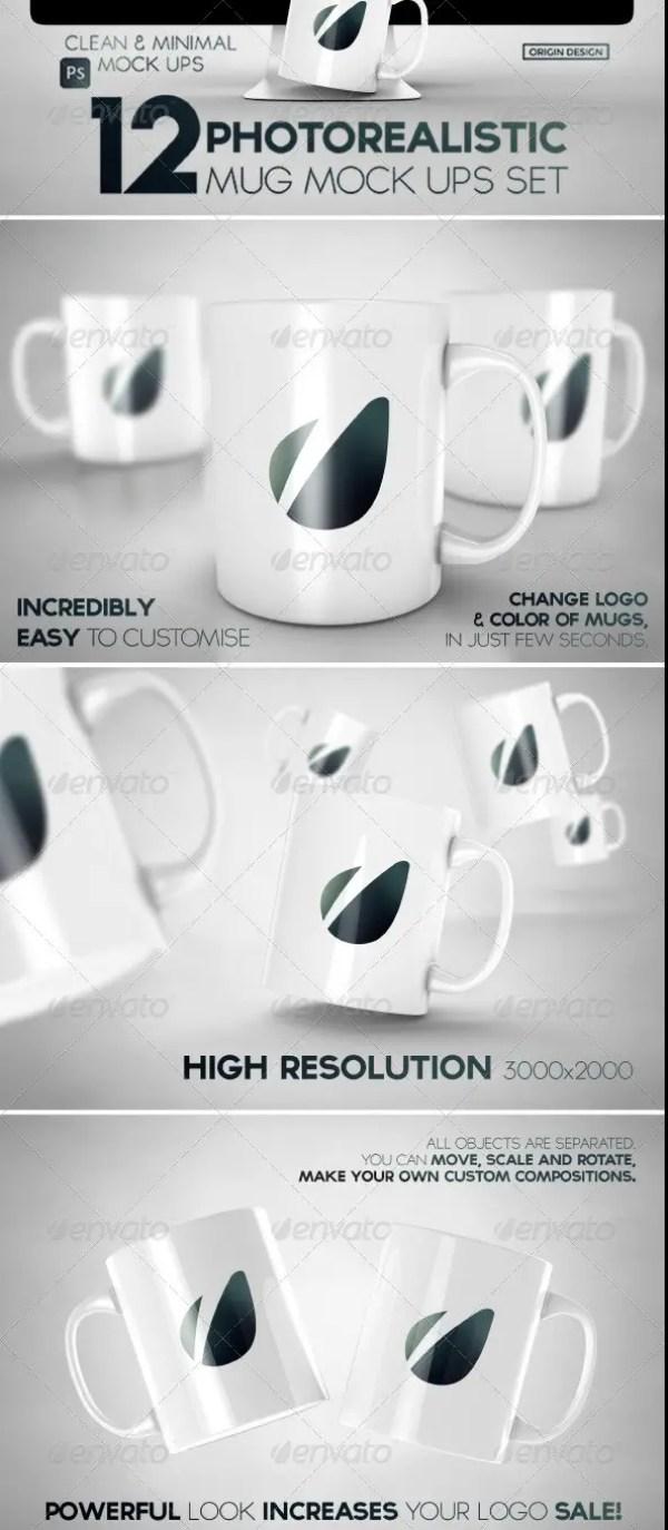 12 Photorealistic Mug Mockups Set