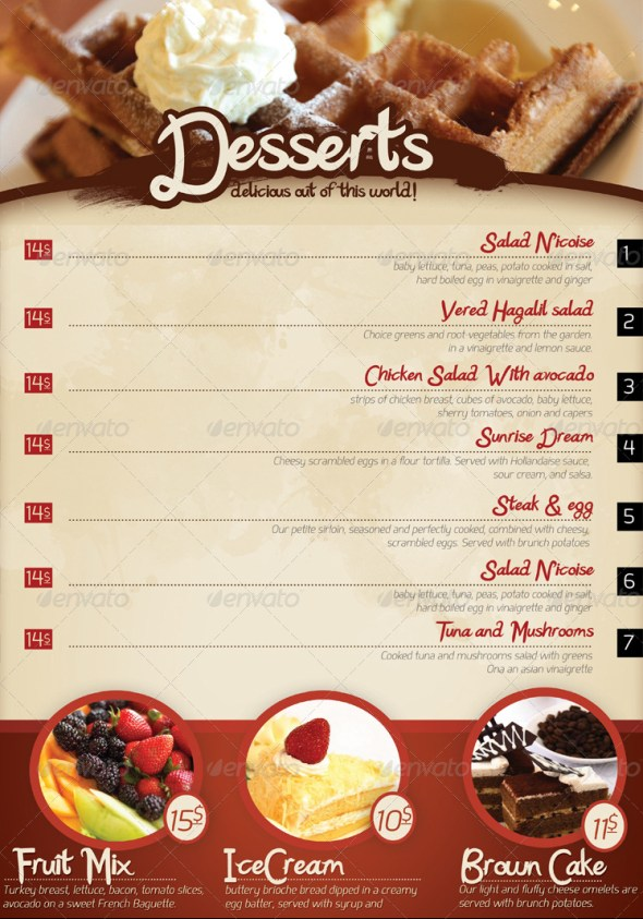 40 psd indesign food menu templates for restaurants for Templates for restaurant menus