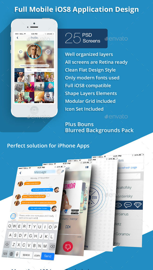 OS8 Phone Plus Full Mobile App UI Kit Design