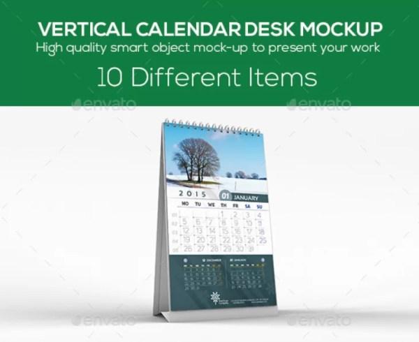 Vertical Calendar Desk Mockup