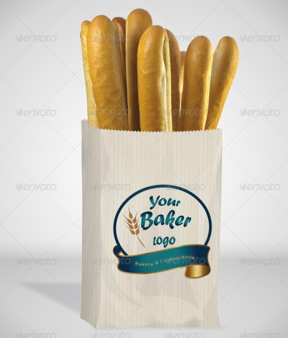 Bread Paper Bag Mockup