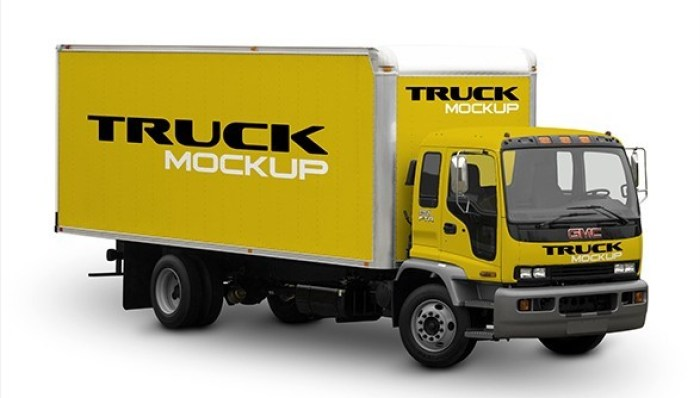 Free Cargo Truck Mockup