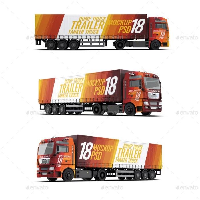 Trucks Mockup 3 Cargo Types Set