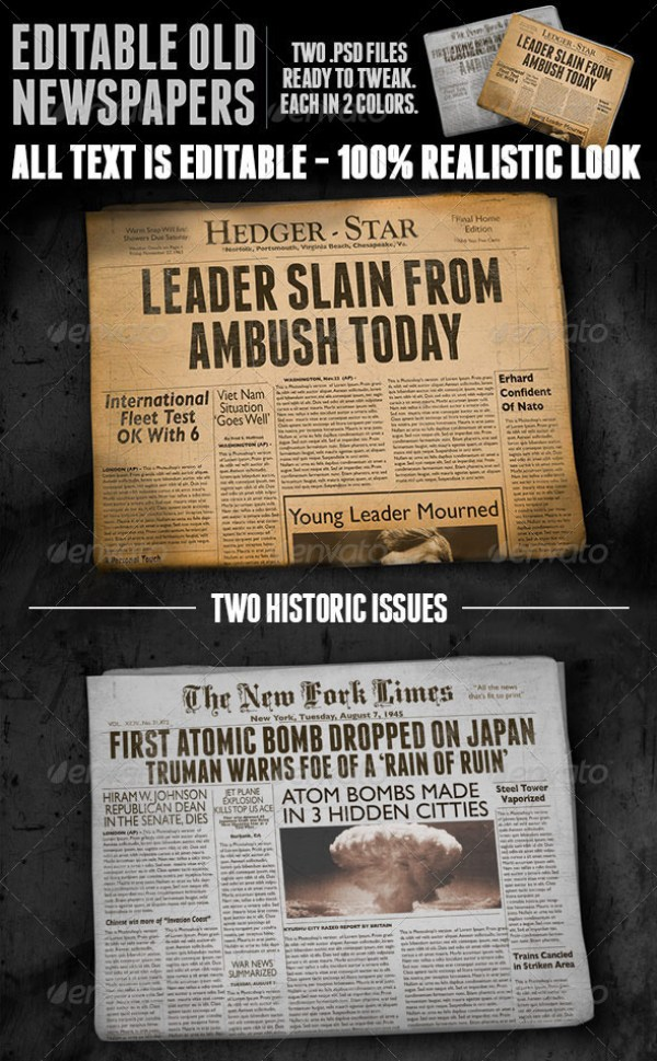 Two Vintage Folded Newspaper Mockups