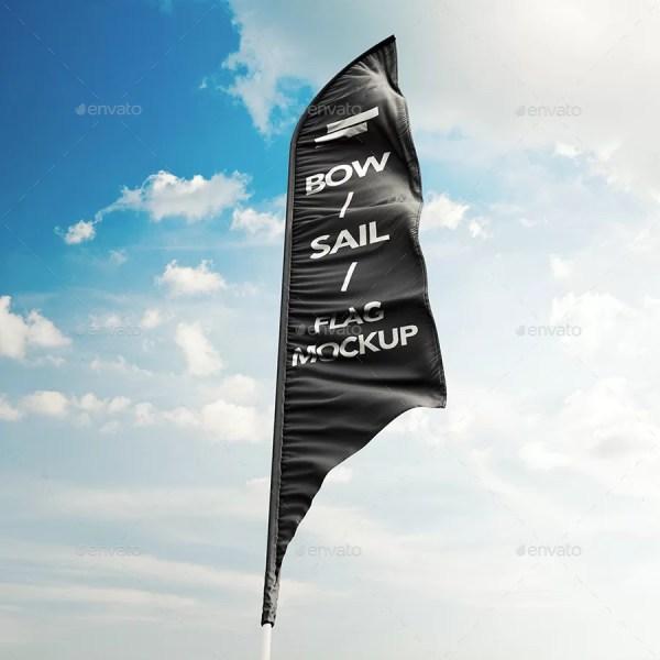 3D Feather Flags / Bow / Sail Flag Mockup