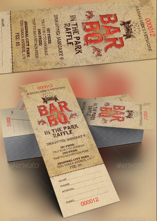 46 print ready ticket templates psd for various types of for Bbq ticket template free