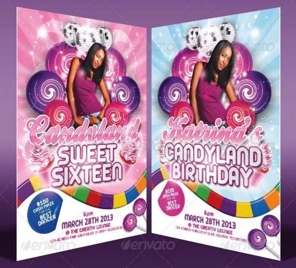Candy Land Birthday Invitation Templates