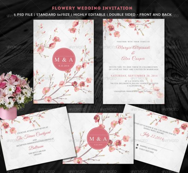 Flowery Wedding Invitation
