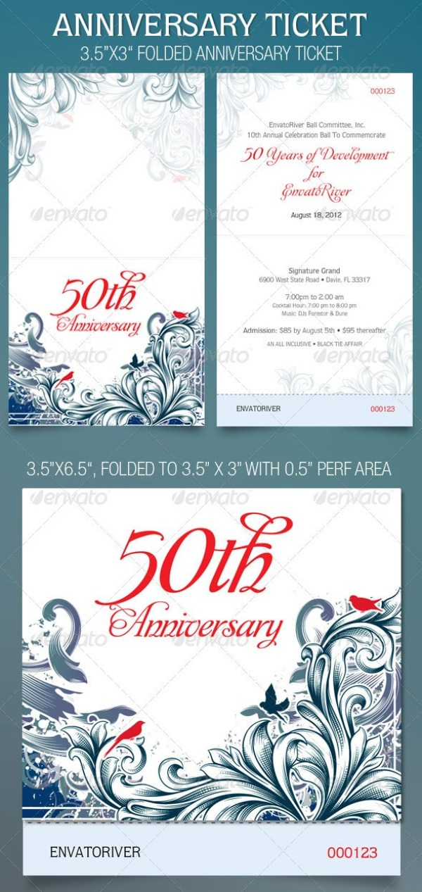 Folded Anniversary Ticket Template