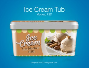 Free Ice Cream Tub Packaging Mockup